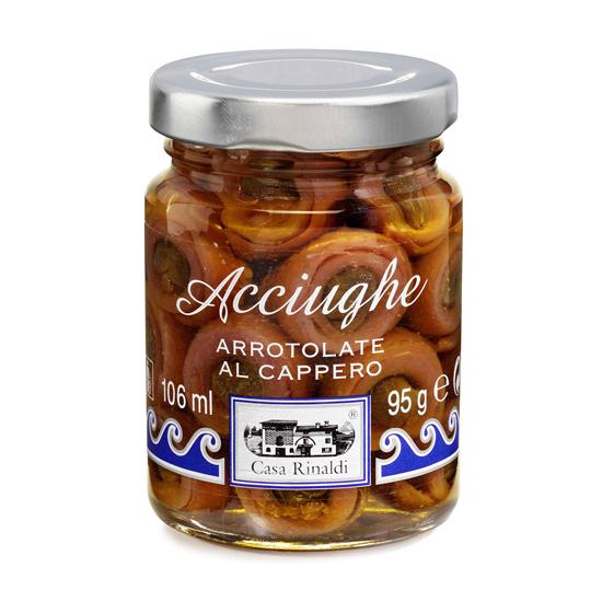 Acciughe Arrotolate al Cappero / Sardellen mit Capern 95 g CASA RINALDI