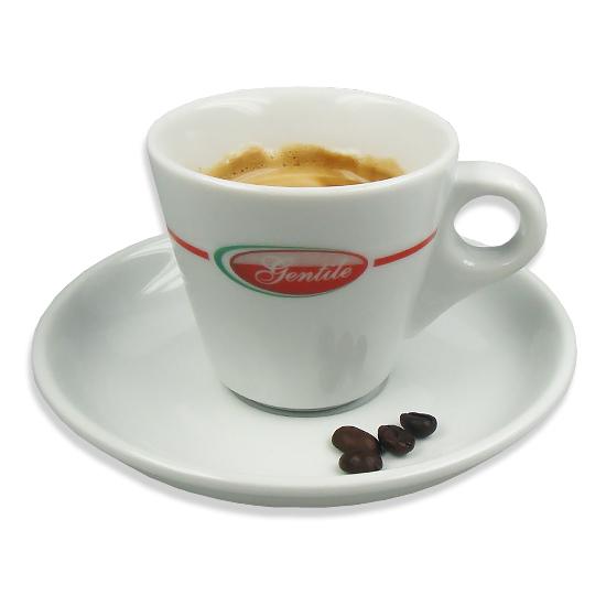 Doppio Caffe con Piattino / sechs doppelte Espressotassen mit Untertellern GENTILE