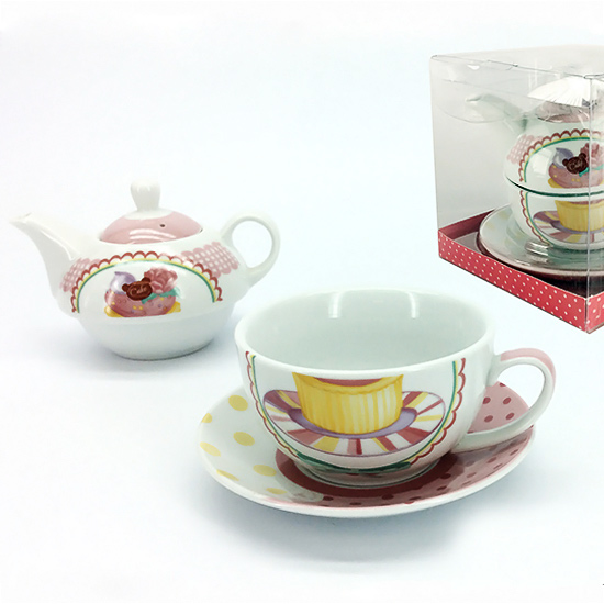 Set Teiera con Tazza Piatto Decorato Muffin GENERAL TRADE