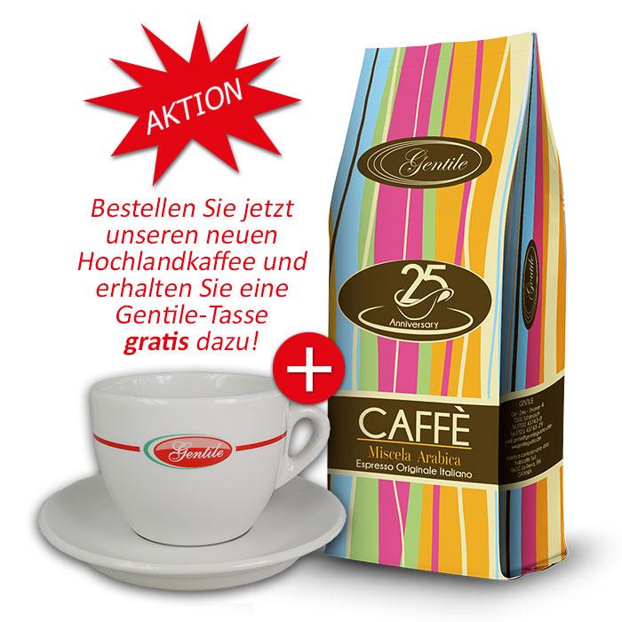 Caffe' GENTILE 25° 1kg 100% Arabica + eine Gentile-Tasse gratis
