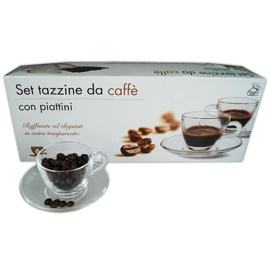 Set Tazzine da caffé in Vetro c/piattini GUSTOCASA