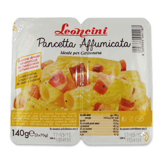 Pancetta Affumicata Cubettata / Räucherspeck 140 g LEONCINI