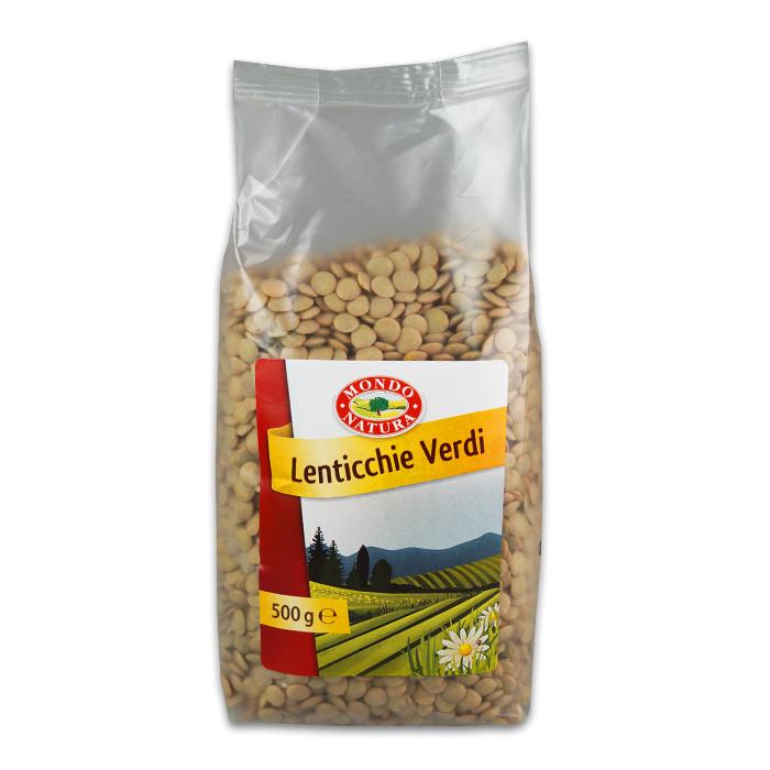 Lenticchie Verdi Secche / Getrocknete Linsen 500 g MONDO NATURA